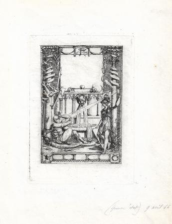 彫版 Meryon - Frontispice pour le catalogue de l'oeuvre de Thomas de Leu