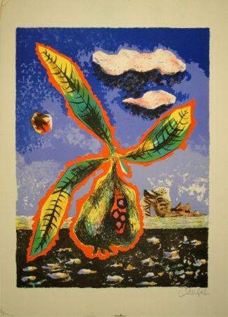 リトグラフ Lurcat - Frucht mit Blättern in phantastischer Landschaft