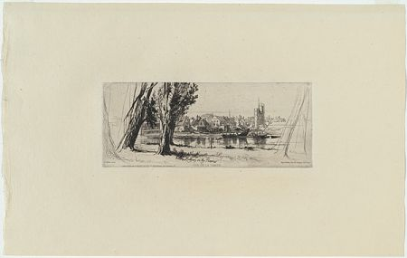 彫版 Haden - Fulham on the Thames, in