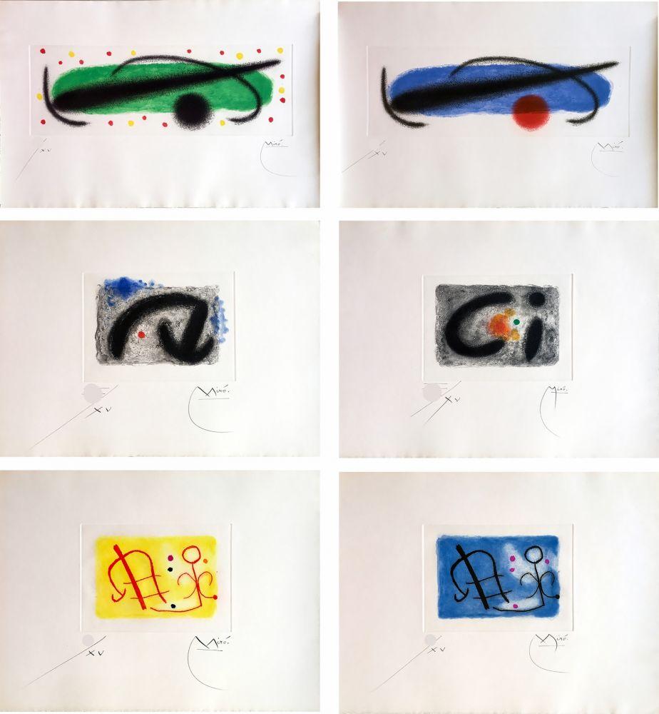 エッチングと アクチアント Miró - FUSÉES. LA SUITE COMPLÈTE DES 15 AQUATINTES SIGNÉES (BRODER 1959).