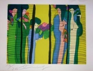 リトグラフ Ting - Geishas Et Fleurs