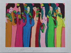 リトグラフ Ting - Geishas Et Perroquets