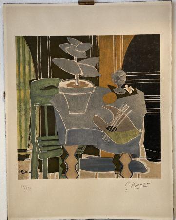 リトグラフ Braque - Georges Braque (1882-1963) Nature morte à la palette, 1960.
