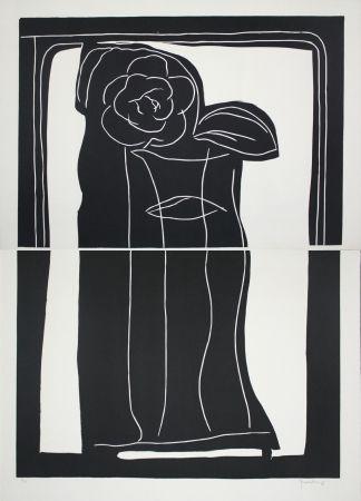 リノリウム彫版 Hernandez Pijuan - Gerro Amb Flors / Vase With Flowers