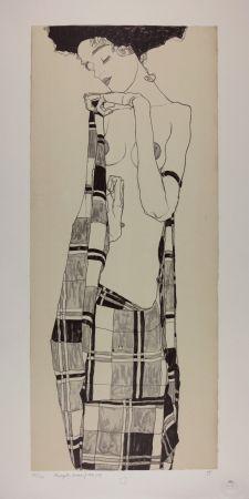 リトグラフ Schiele - GERTI SCHIELE in a Plaid Garment, 1909 | Lithographie n° 1/40