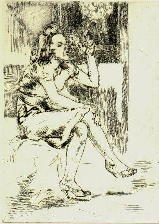 エッチング Bishop - Girl Blowing Smoke Rings