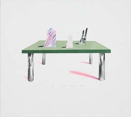 リトグラフ Hockney - Glass Table with Objects