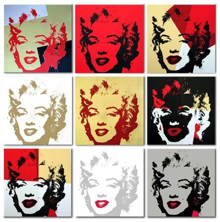 シルクスクリーン Warhol (After) - Golden Marilyn Monroe collection a set of 10