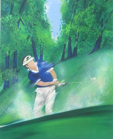 リトグラフ Spahn - Golfeur bleu