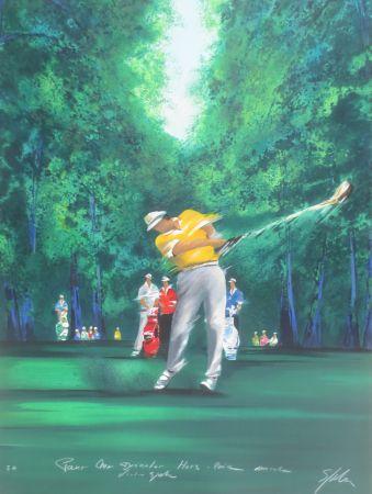 リトグラフ Spahn - Golfeur jaune II