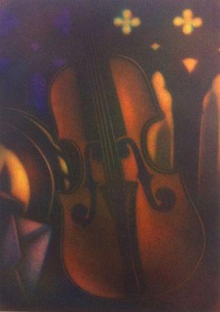 メゾチント彫法 Schkolnyk - Grand violon rouge