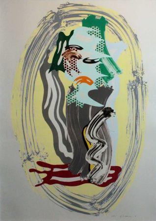 リトグラフ Lichtenstein - Green Face, from Brushstroke Figures