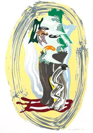 リトグラフ Lichtenstein - Green Face, from Brushstroke Figures Series