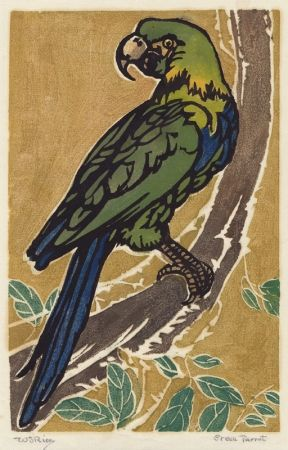 木版 Rice - Green Parrot