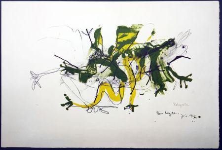リトグラフ Rebeyrolle - GRENOUILLES. Lithographie signéeet dédicacée (1970).