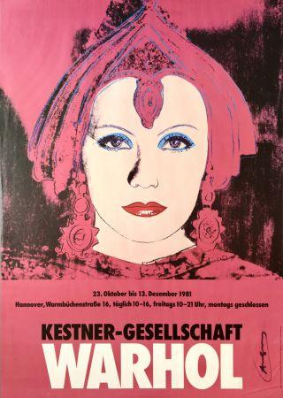 リトグラフ Warhol - 'Greta Garbo' Hand Signed Exhibition Poster 1981
