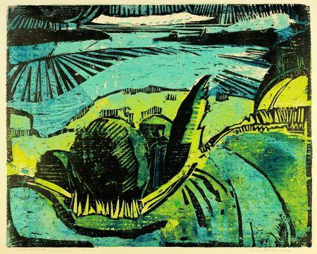木版 Kliemann - Große Havellandschaft (Landscape with Havel river)