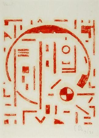 木版 Buchholz - Großer Kreis mit kleinem Kreis rot (Big cercle with small cercle red)