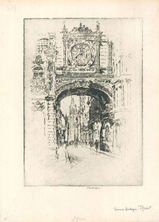 彫版 Pennell - Grosse horloge, Rouen