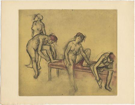 エッチングと アクチアント Degas - Groupe de danseuses (étude du nus et mouvements. 1897)