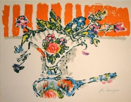 リトグラフ Carigiet - (Handspiegel vor Blumenvase