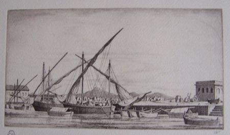 彫版 Strang - Harbour Scene, Syracuse