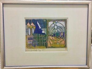 リトグラフ Hundertwasser - Haus und Spirale im Regen