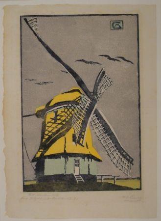 木版 Cunz - Holländische Windmühle