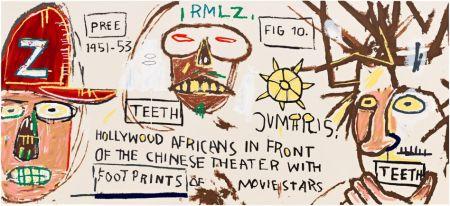 シルクスクリーン Basquiat - HOLLYWOOD AFRICANS IN FRONT OF THE CHINESE THEATER WITH FOOTPRINTS OF MOVIE STARS