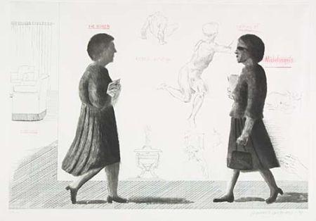 エッチングと アクチアント Hockney - Homage to Michelangelo