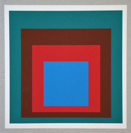 シルクスクリーン Albers - Homage to the Square - Protected Blue - 1957