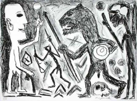 リトグラフ Penck - Homer u. Aristoteles, 1 Blatt