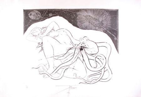 エッチング Trémois - Hommage à Hokusai