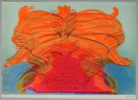 リトグラフ Messagier - Hommage a Fellini