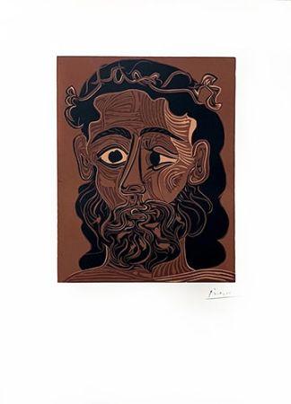 リノリウム彫版 Picasso - Homme barbu couronné de vignes