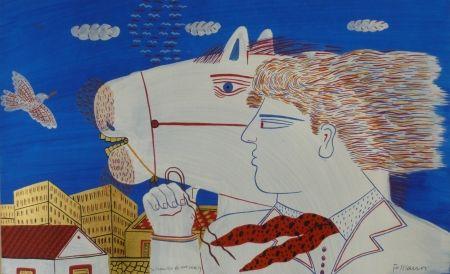 リトグラフ Fassianos - Homme et cheval