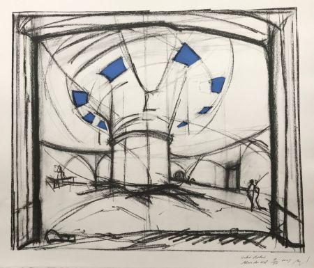 シルクスクリーン Buraglio - Hubert Robert – Bleu gauloise