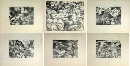 リトグラフ Lhote - HUIT LITHOGRAPHIES POUR L'OR DE BLAISE CENDRARS (1938).