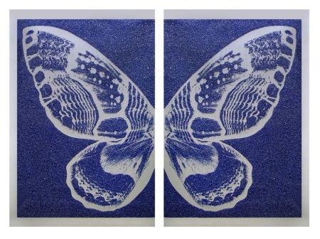 シルクスクリーン Robierb - Hybrid Silver Butterfly l on Blue