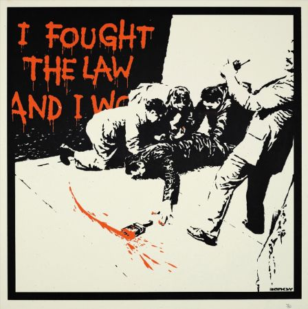 シルクスクリーン Banksy - I FOUGHT THE LAW