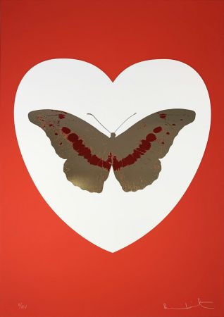 シルクスクリーン Hirst - I Love You - White/Red/Cool Gold/Poppy Red