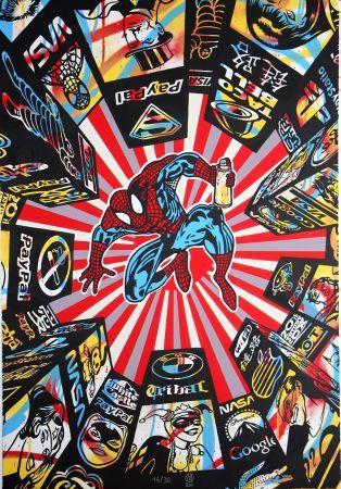 シルクスクリーン Speedy Graphito - I Spray My City (Spiderman)