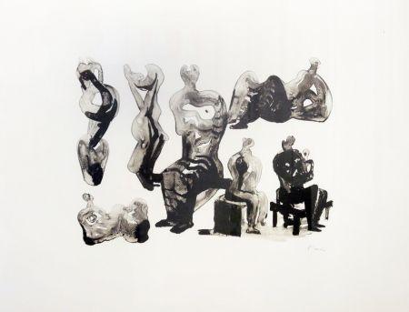 リトグラフ Moore - Ideas for sculptures C. 365