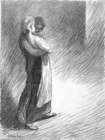リトグラフ Steinlen - Il bacio