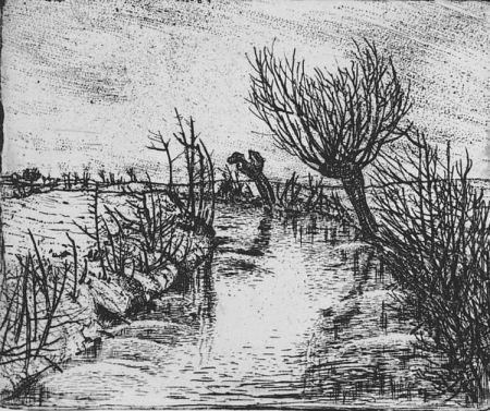 エッチング Bozzetti - Il canale d'inverno