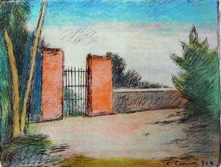 リトグラフ Carra - Il cancello