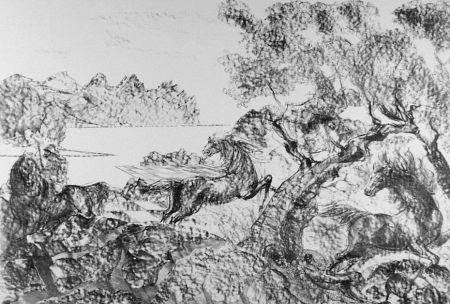 リトグラフ Sassu - Il cavaliere con l'elmo