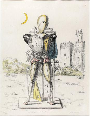 リトグラフ De Chirico - Il trovatore con la luna