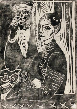 木版 Hamerschlag - In der Loge - Selbstporträt (At the Loge - Selfportrait)