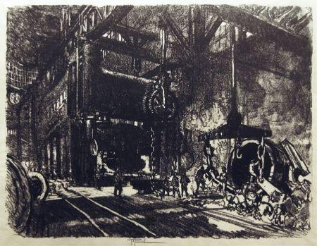 リトグラフ Pennell - In the Land of Brobdingnag: The Armour Plate Bending Presses